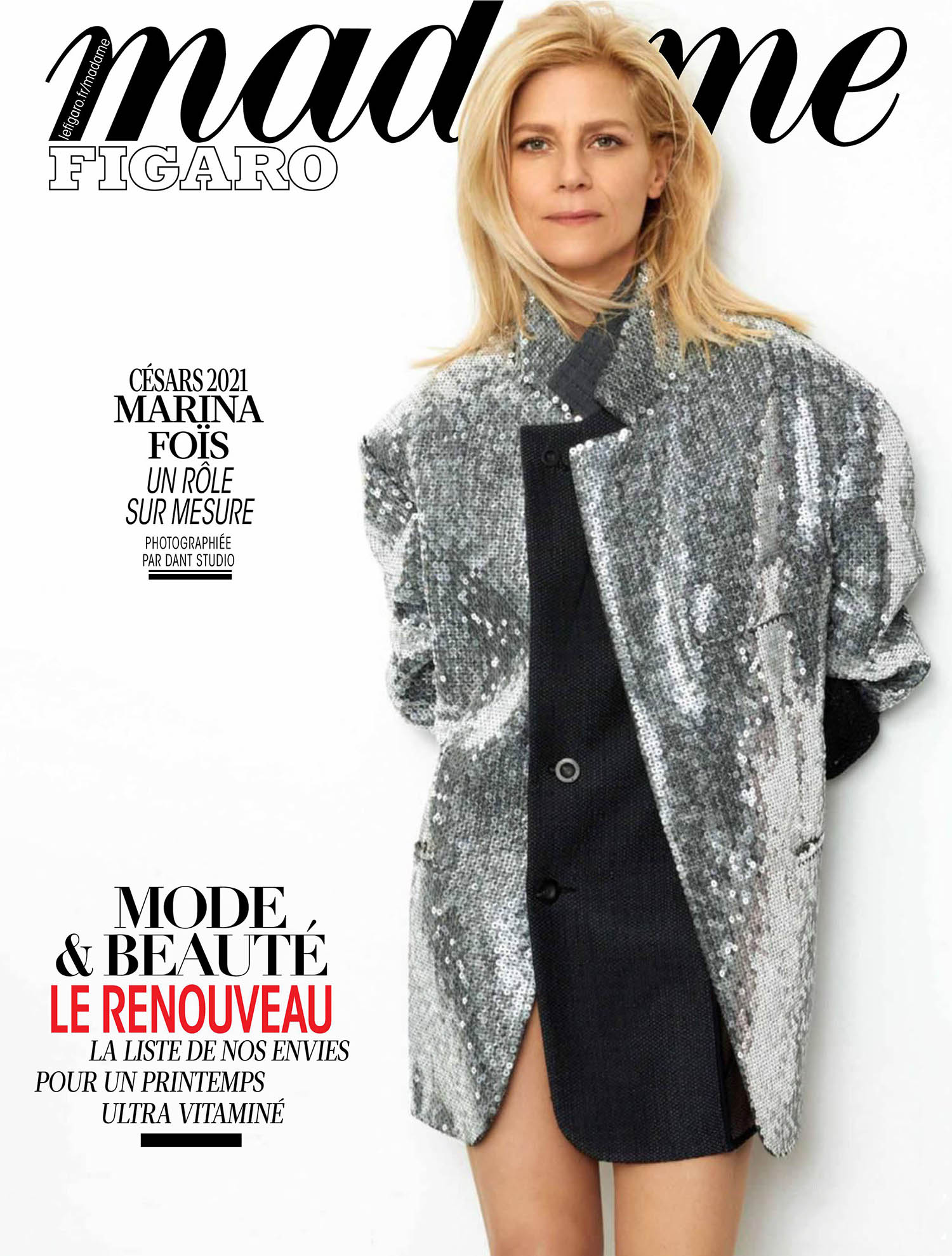 Marina Foïs covers Madame Figaro March 12th, 2021 by Dant Studio