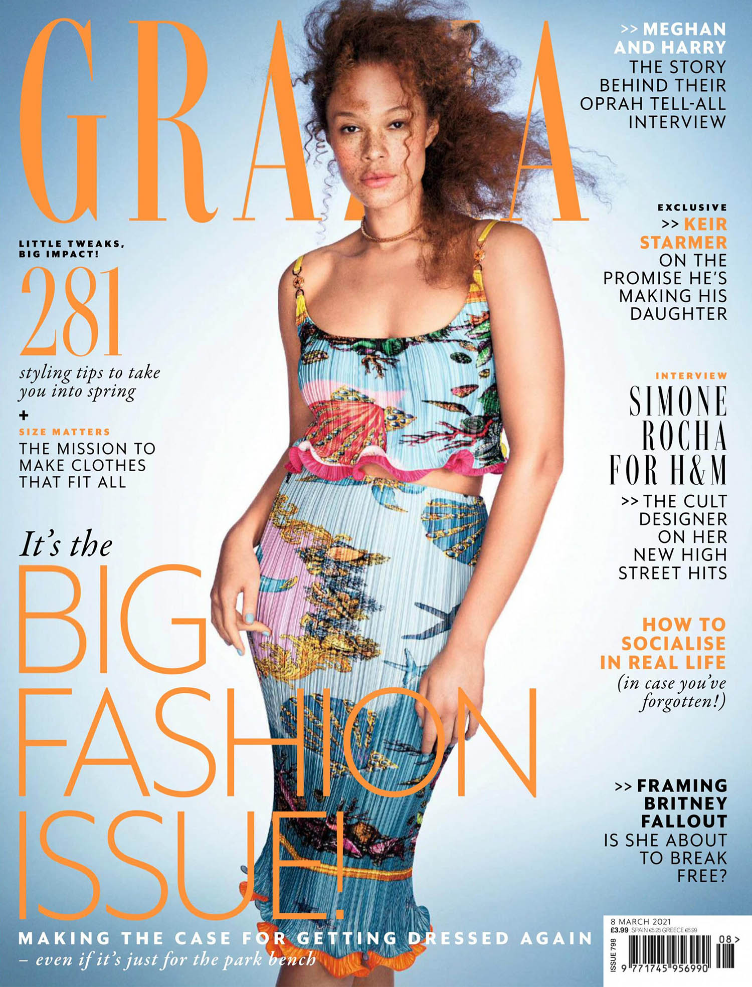 Sabina Karlsson covers Grazia UK March 8th, 2021 by Victor Demarchelier