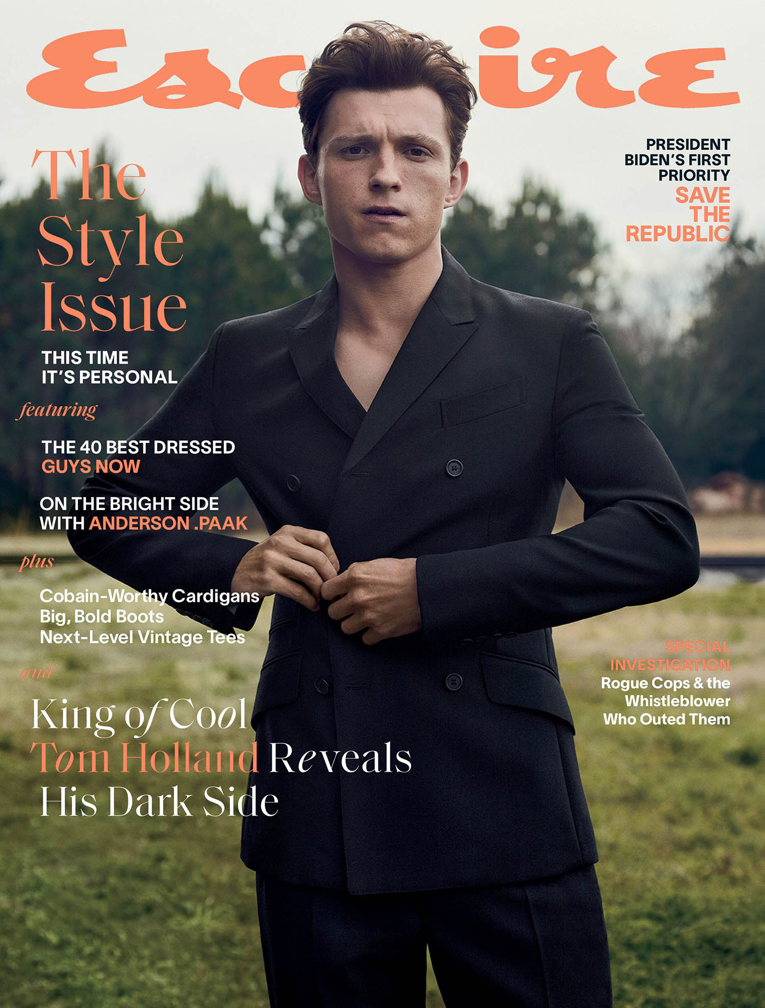 Tom Holland covers Esquire US March 2021 by Robbie Fimmano