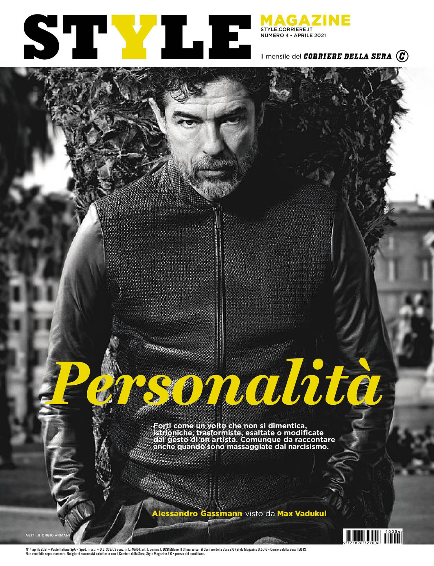 Alessandro Gassmann covers Corriere della Sera Style April 2021 by Max Vadukul