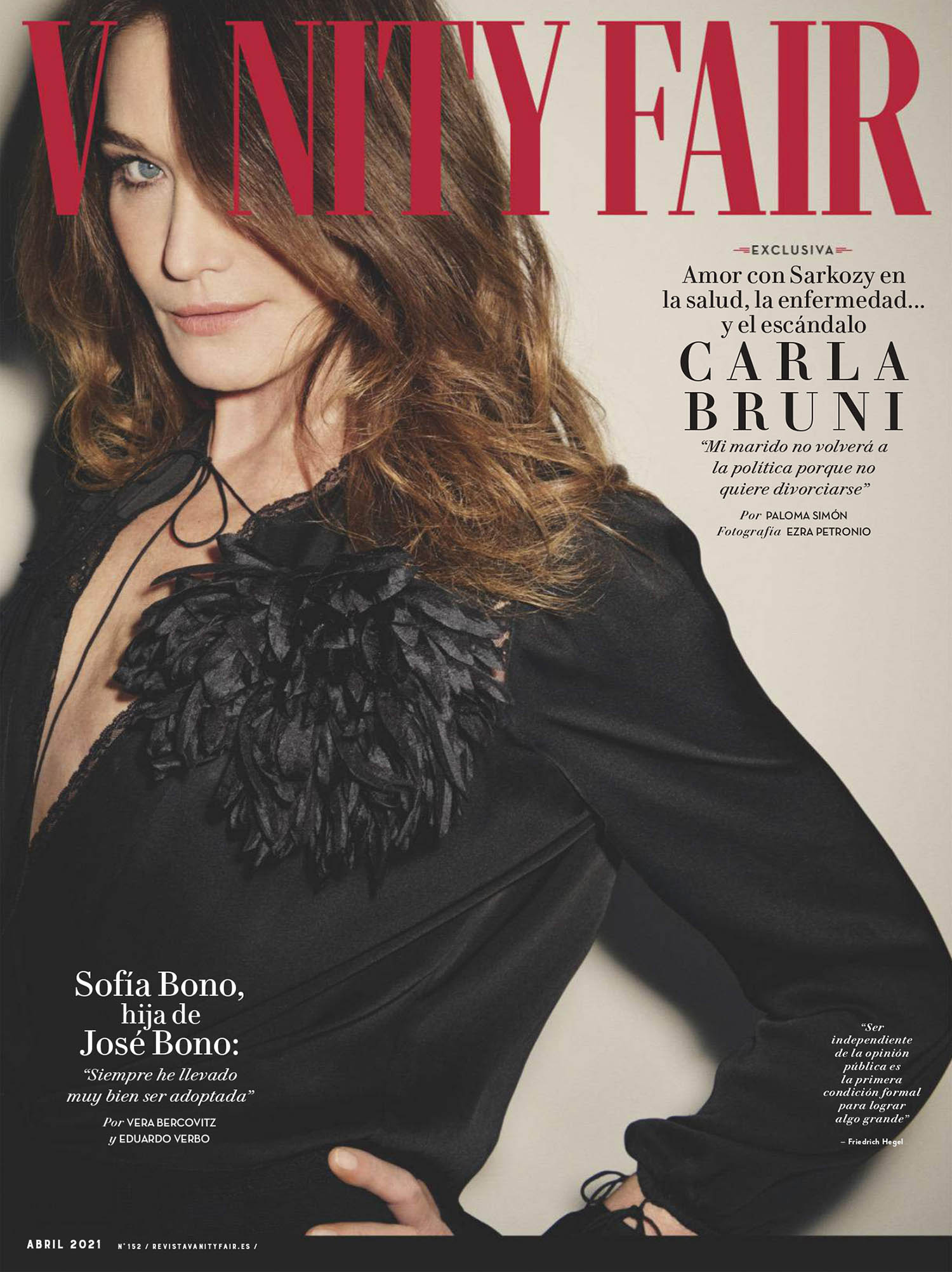 Carla Bruni covers Vanity Fair Spain April 2021 by Ezra Petronio