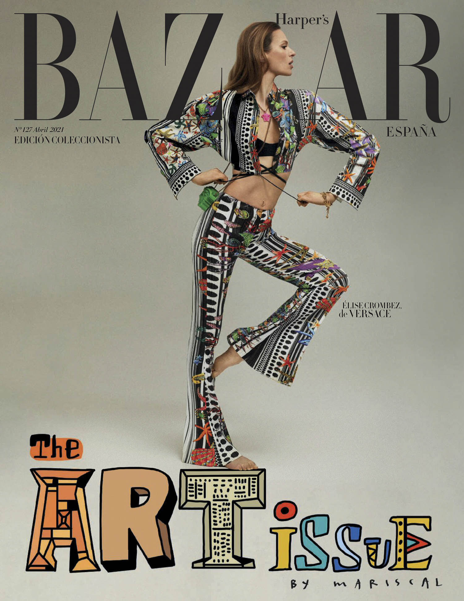 Élise Crombez covers Harper's Bazaar Spain April 2021 by Xavi Gordo