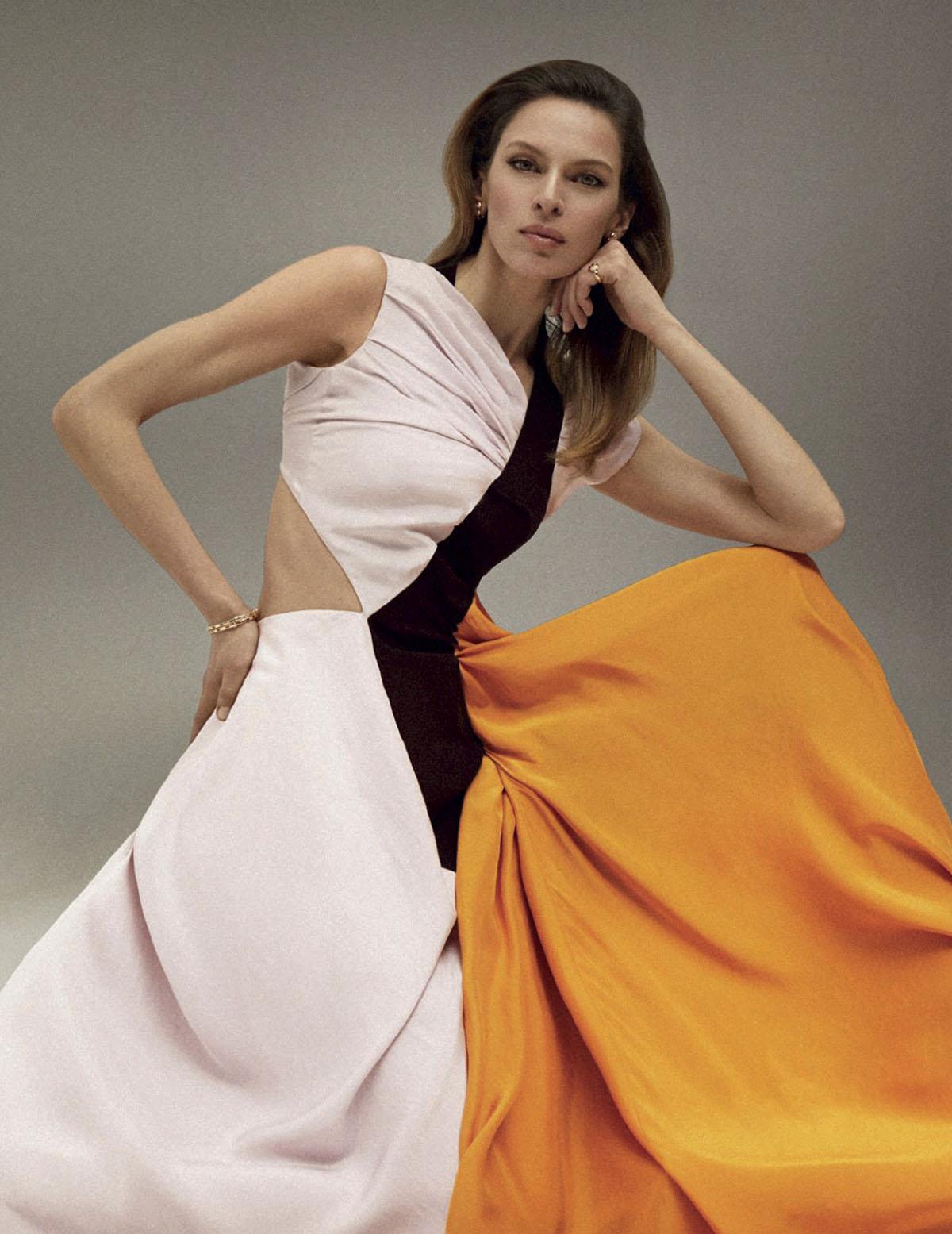 Élise Crombez covers Harper's Bazaar Spain April 2021 by Xavi Gordo