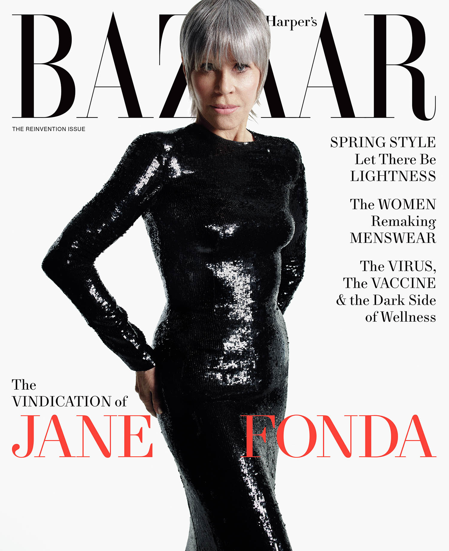 Jane Fonda covers Harper's Bazaar US April 2021 by Mario Sorrenti