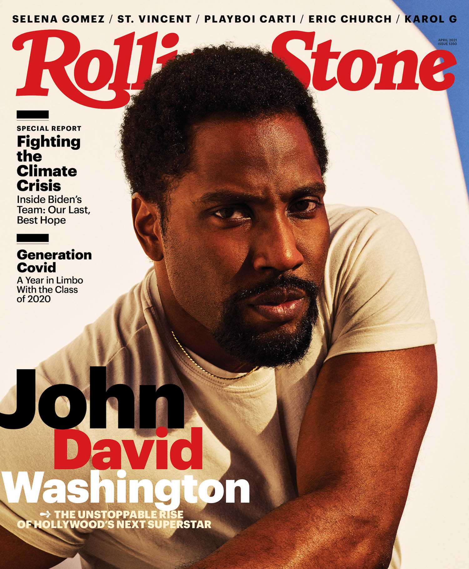 John David Washington covers Rolling Stone April 2021 by Dario Calmese