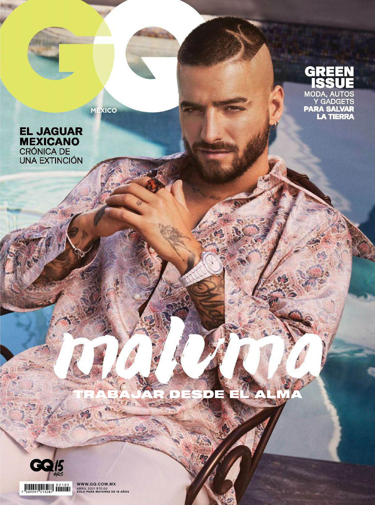 Maluma covers GQ Mexico & Latin America April 2021 by Michael Schwartz