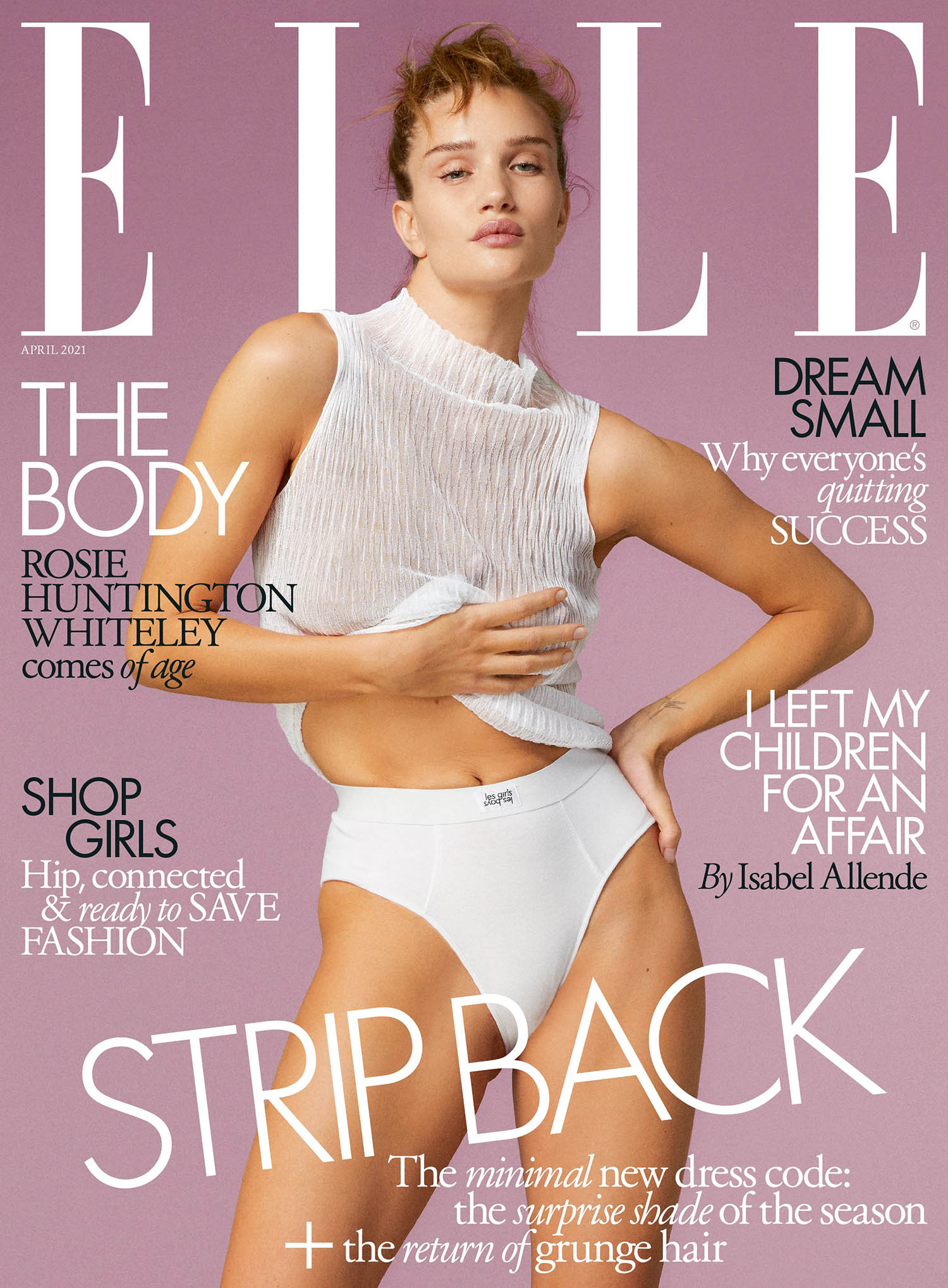 Rosie Huntington-Whiteley covers Elle UK April 2021 by Quentin Jones