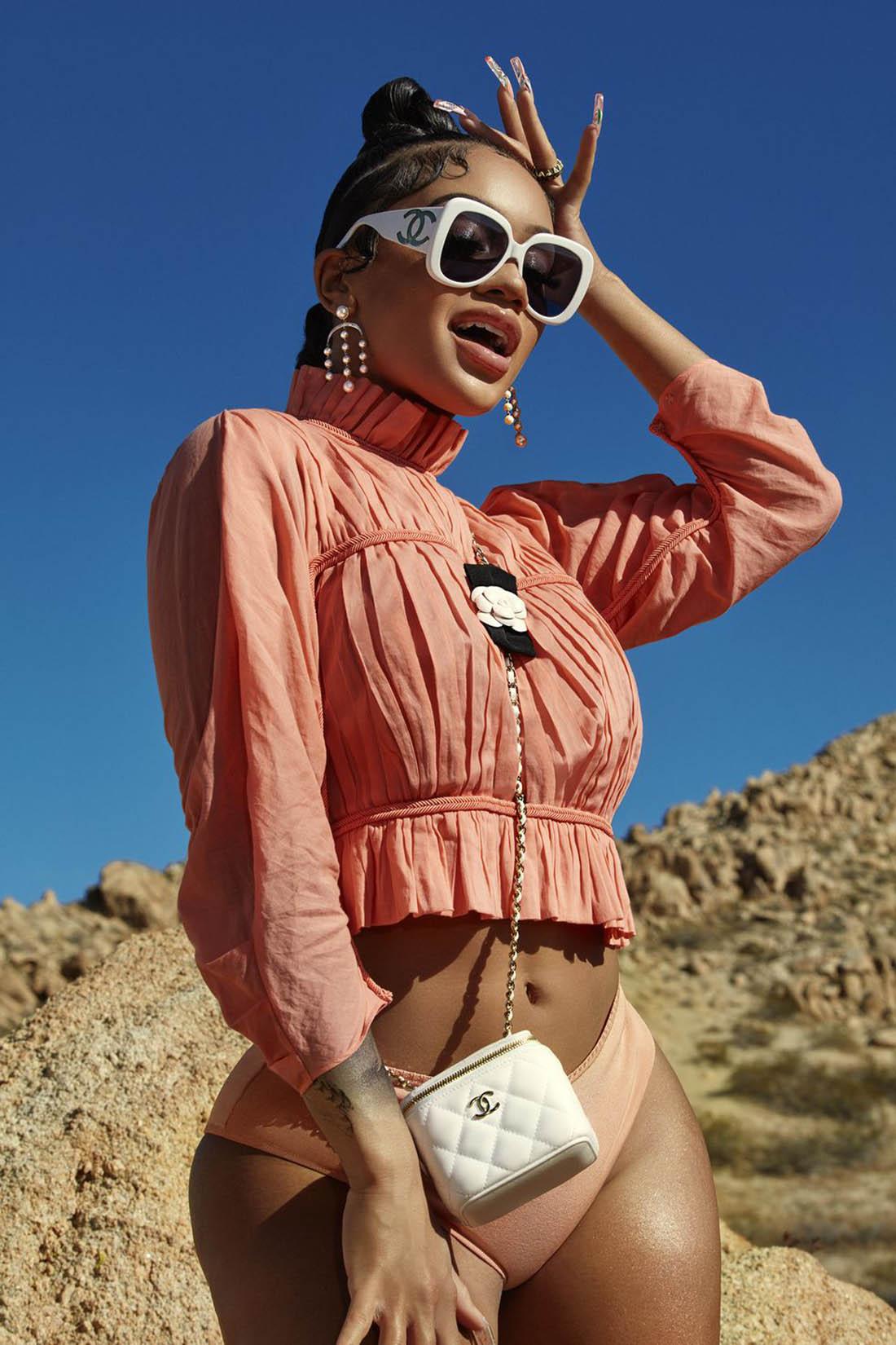 Saweetie covers Cosmopolitan US April 2021 by Dennis Leupold