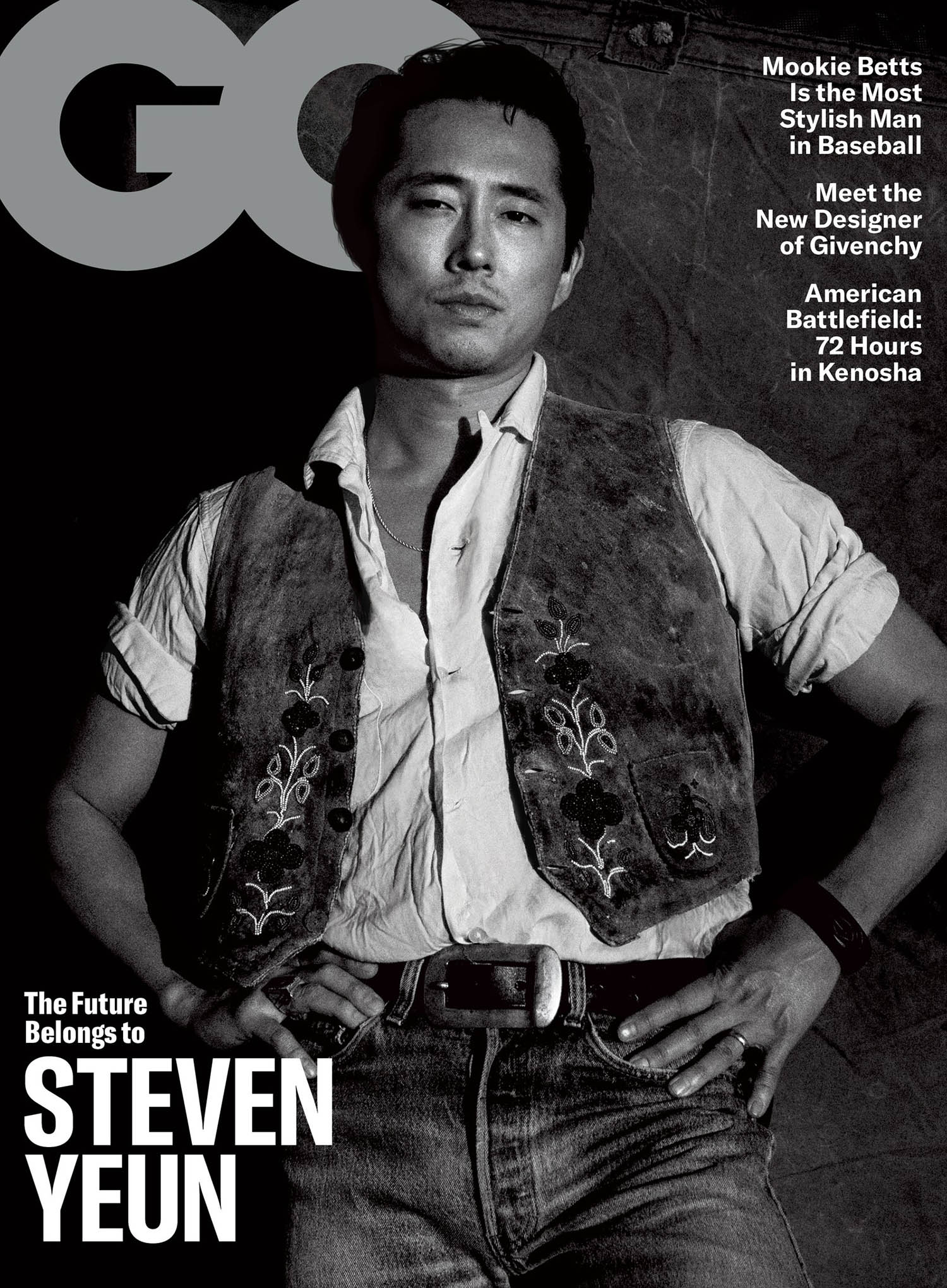 Steven Yeun covers GQ USA April 2021 by Diana Markosian
