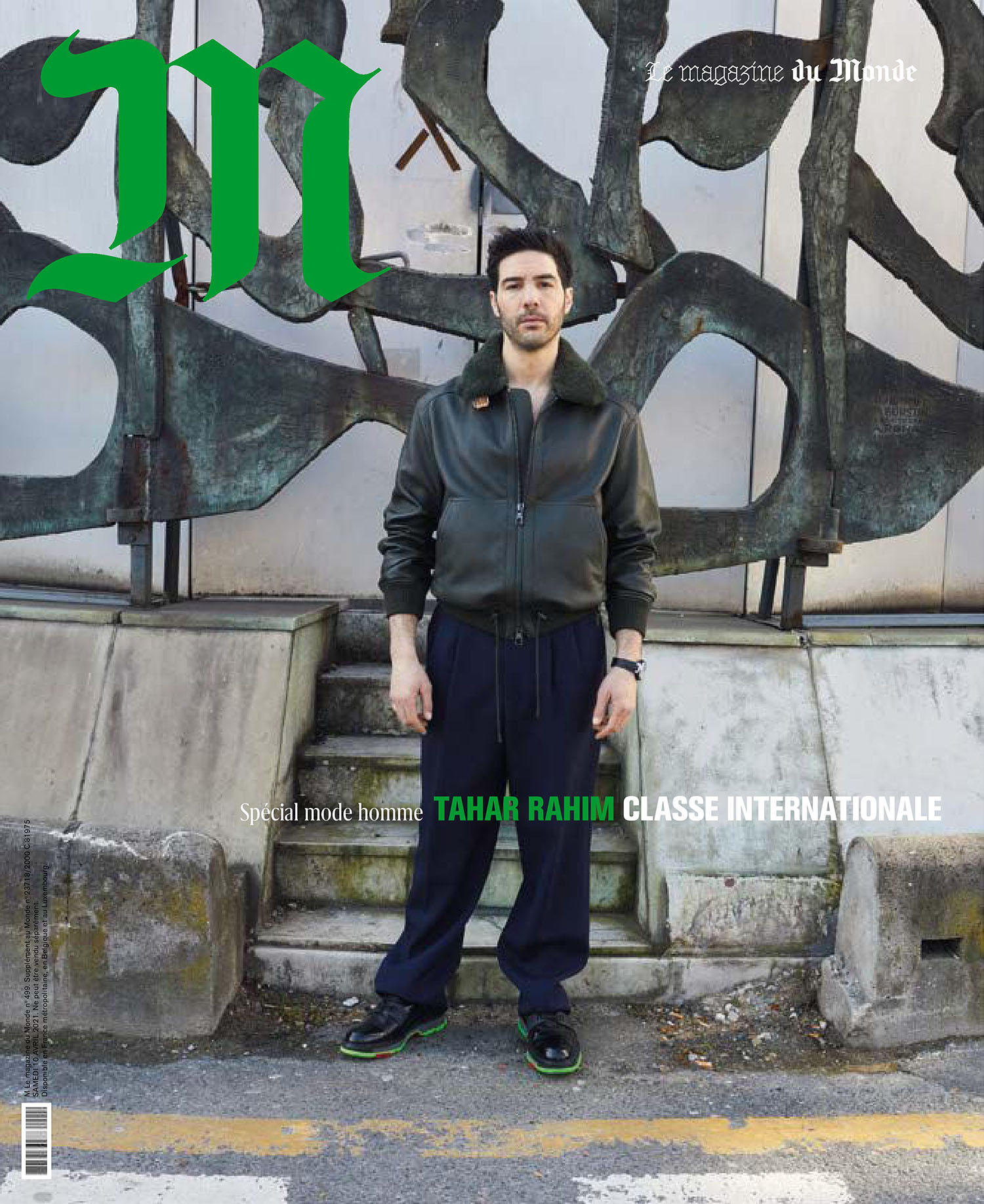 Tahar Rahim covers M Le magazine du Monde April 10th, 2021 by Juergen Teller