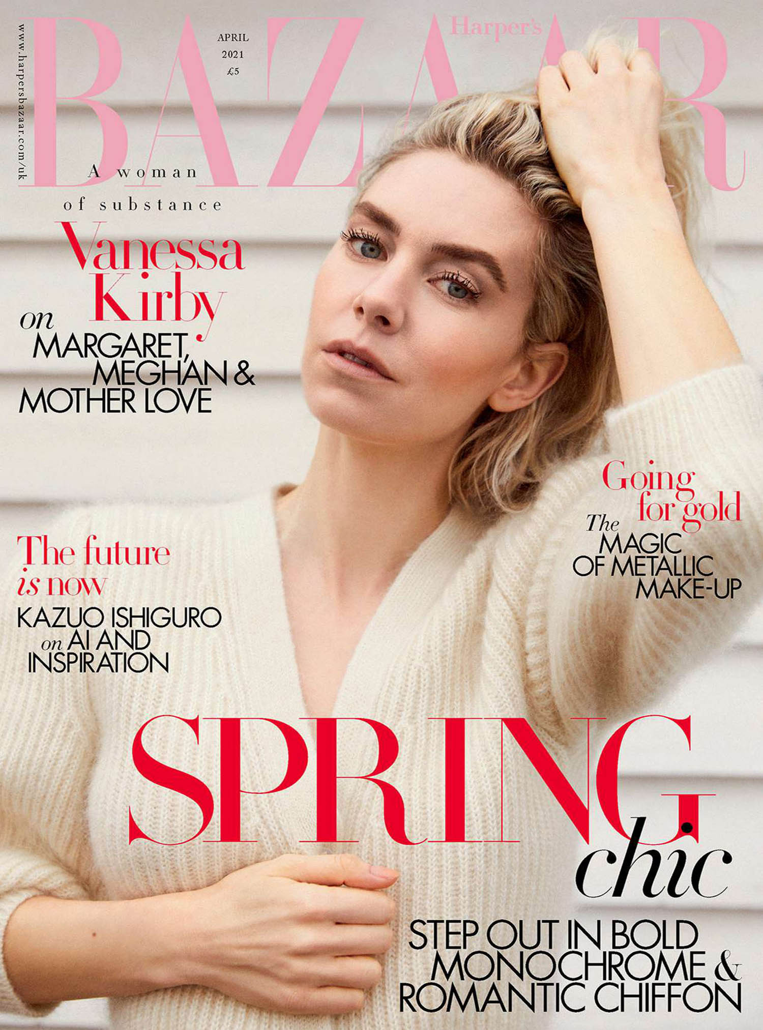 Vanessa Kirby covers Harper's Bazaar UK April 2021 by Josh Shinner
