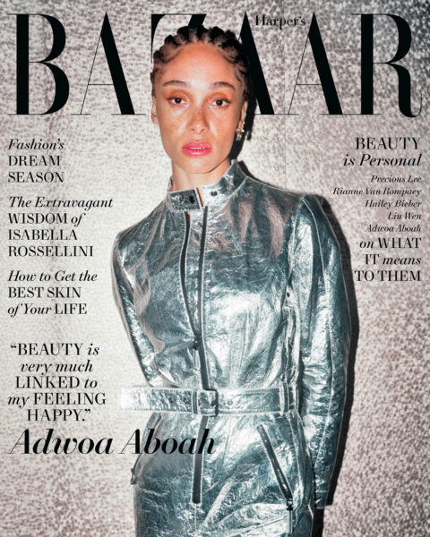 Adwoa Aboah covers Harper's Bazaar US May 2021 by Liz Johnson Artur