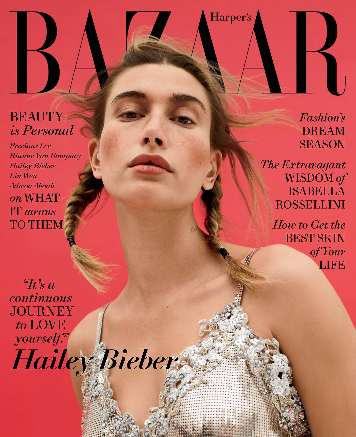 Hailey Bieber covers Harper's Bazaar US May 2021 by Amy Troost
