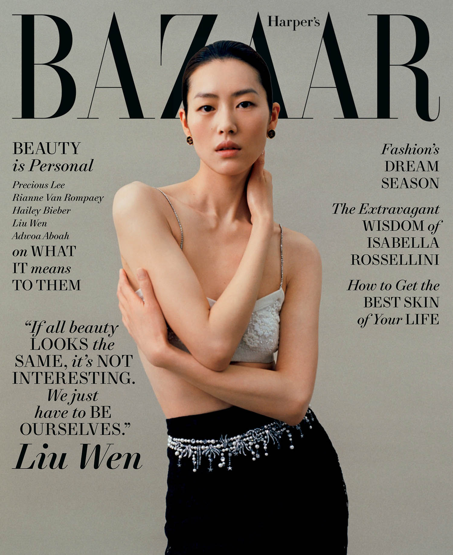Liu Wen covers Harper's Bazaar US May 2021 by Leslie Zhang
