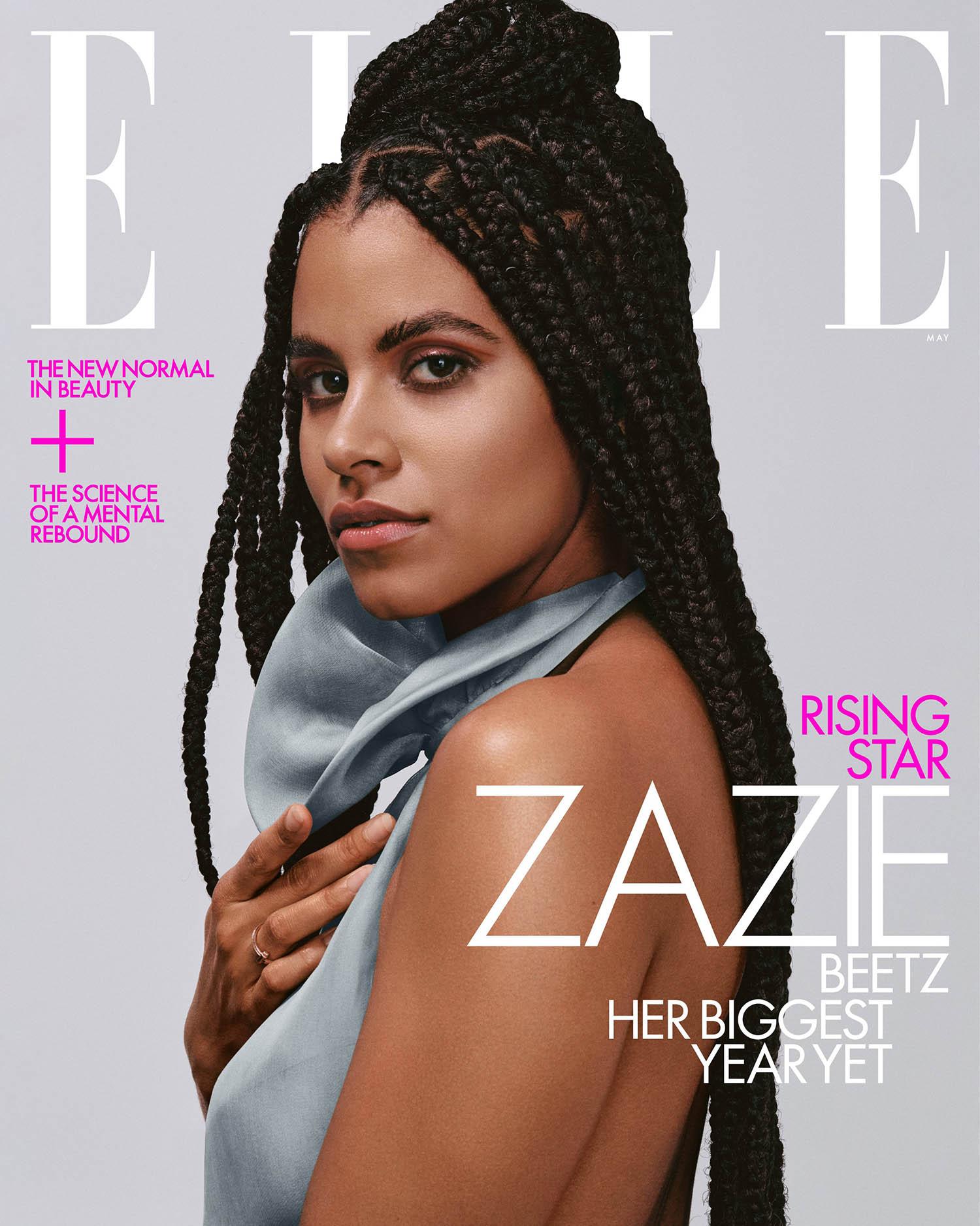 Zazie Beetz covers Elle US May 2021 by Adrienne Raquel
