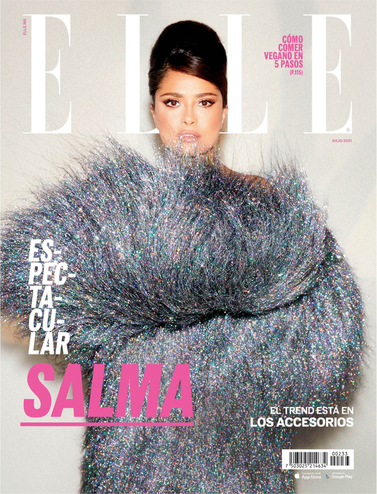 Salma Hayek covers Elle Mexico July 2021 by Zoe McConnell