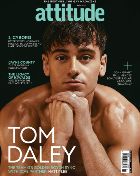 Tom Daley and Matty Lee cover Attitude Magazine July 2021 by Eddie Blagbrough