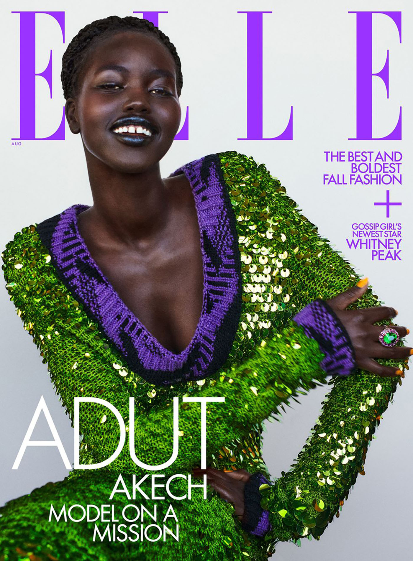 Adut Akech covers Elle US August 2021 by Chris Colls