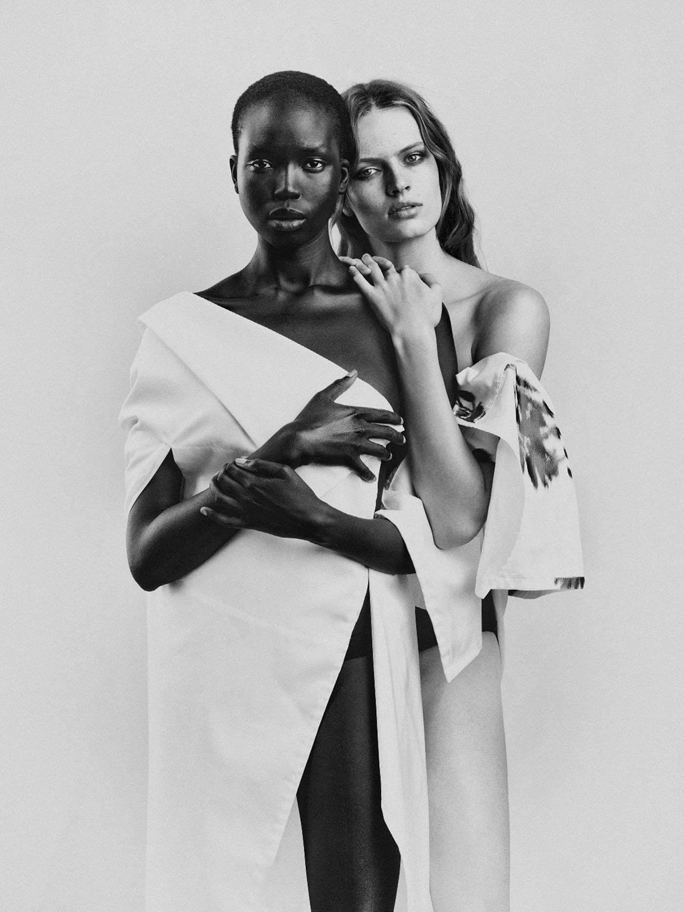 Ajok Madel and Sophia Roetz by Bastiaan Woudt for Numéro June/July/August 2021