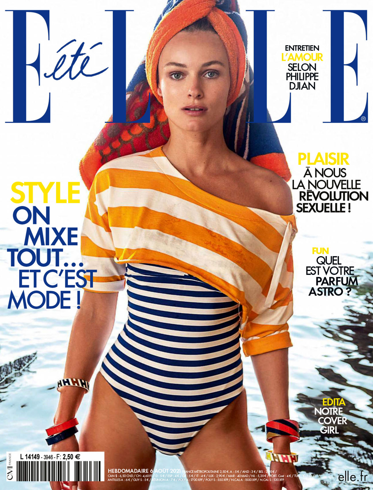 Edita Vilkeviciute covers Elle France August 6th, 2021 by Gilles Bensimon