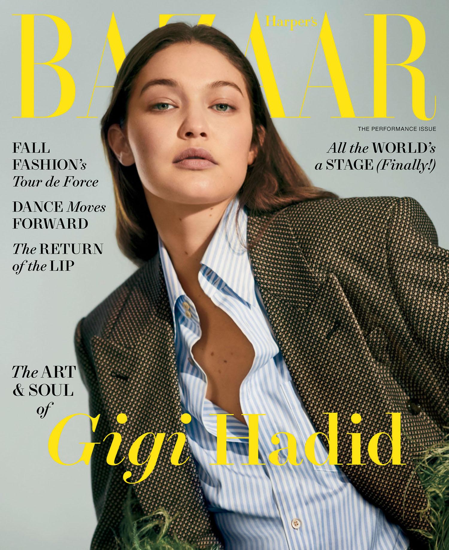 Gigi Hadid covers Harper's Bazaar US August 2021 by Collier Schorr