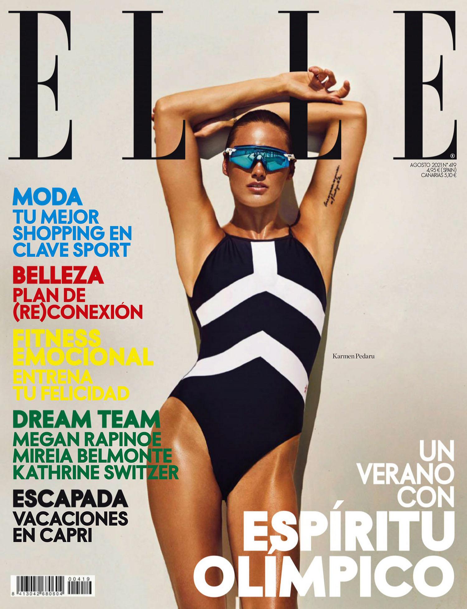 Karmen Pedaru covers Elle Spain August 2021 by Mario Sierra