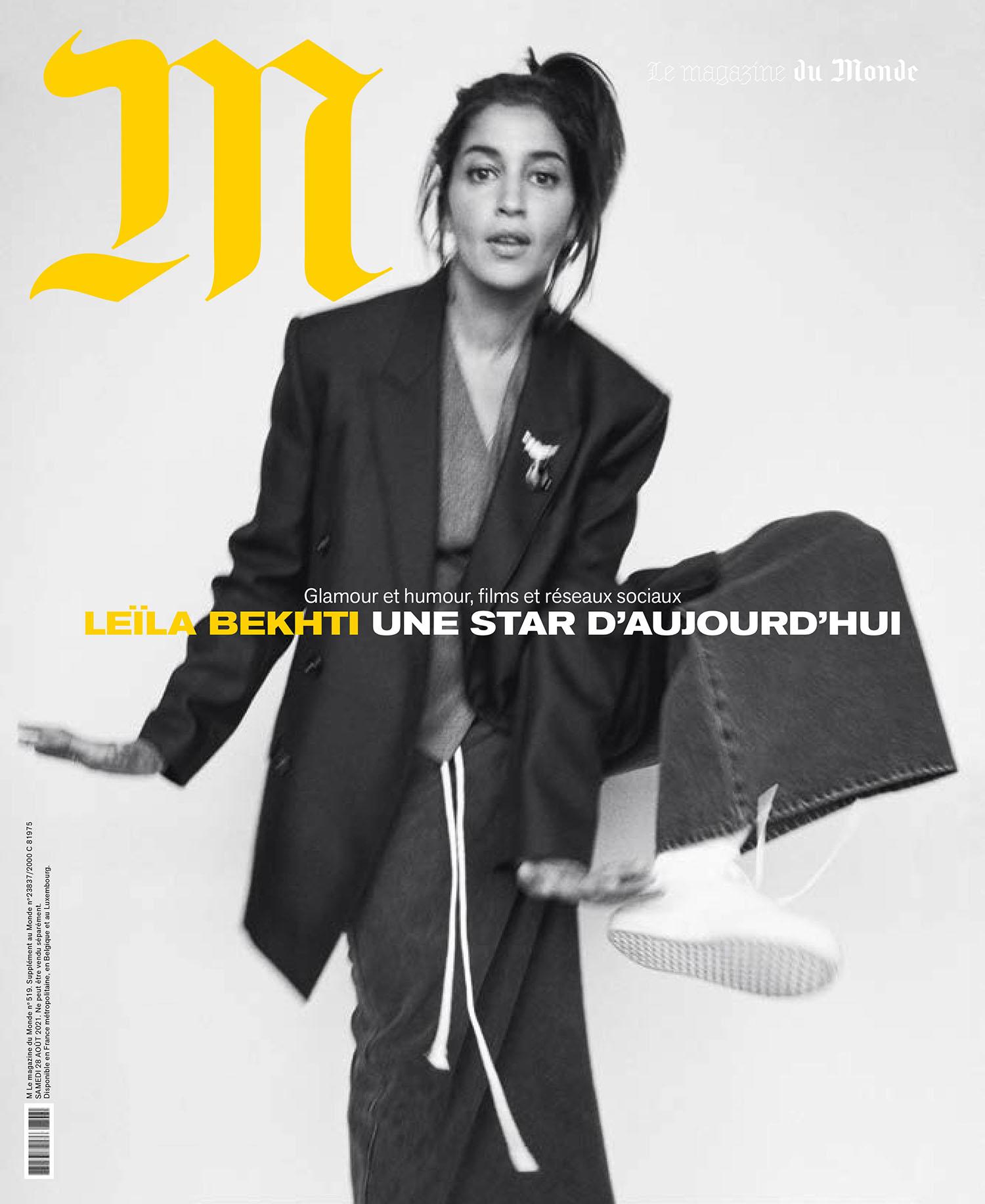 Leïla Bekhti covers M Le magazine du Monde August 28th, 2021 by Matteo Montanari
