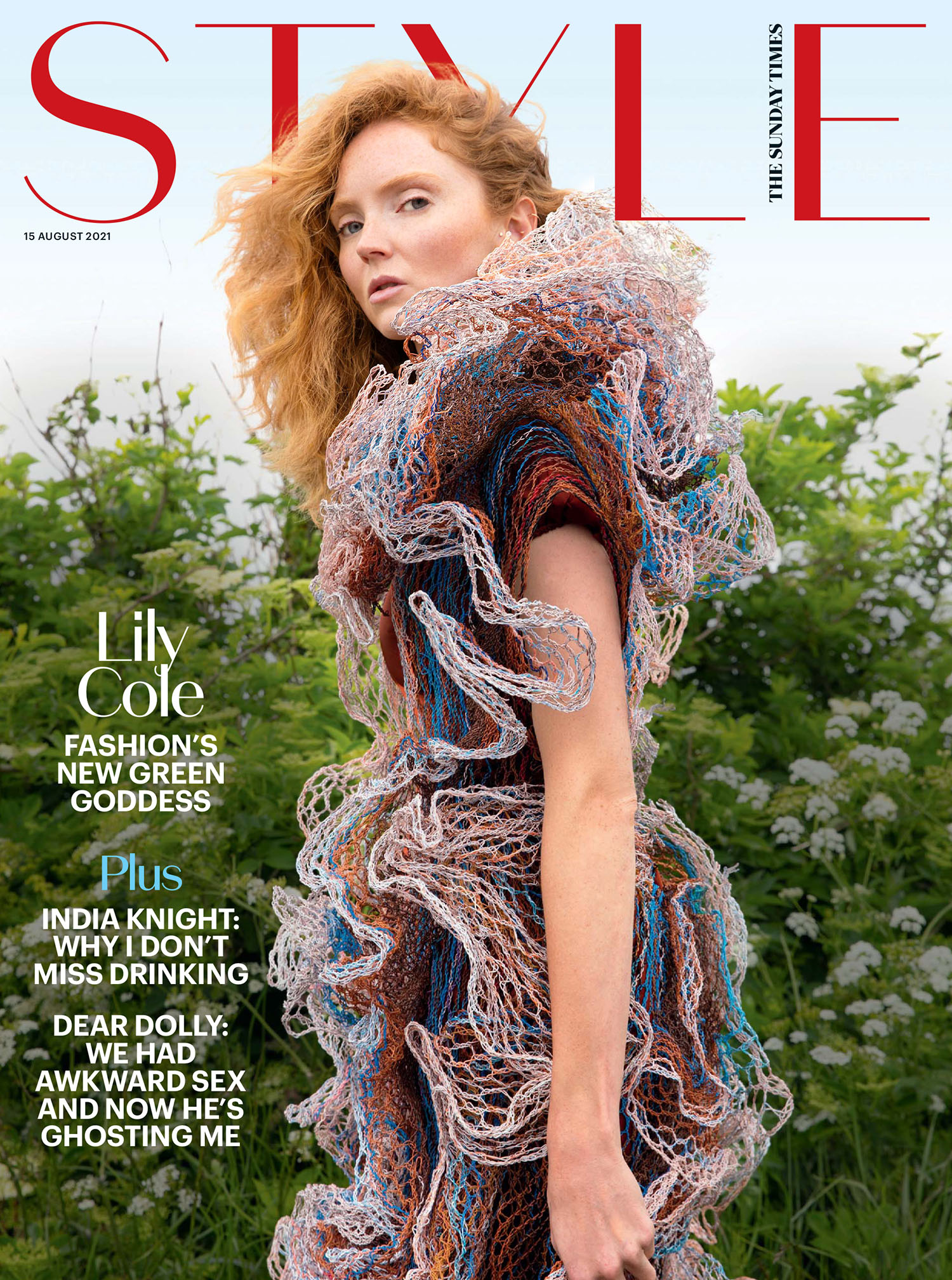 Lily Cole covers The Sunday Times Style August 15th, 2021 by Jackie Nickerson