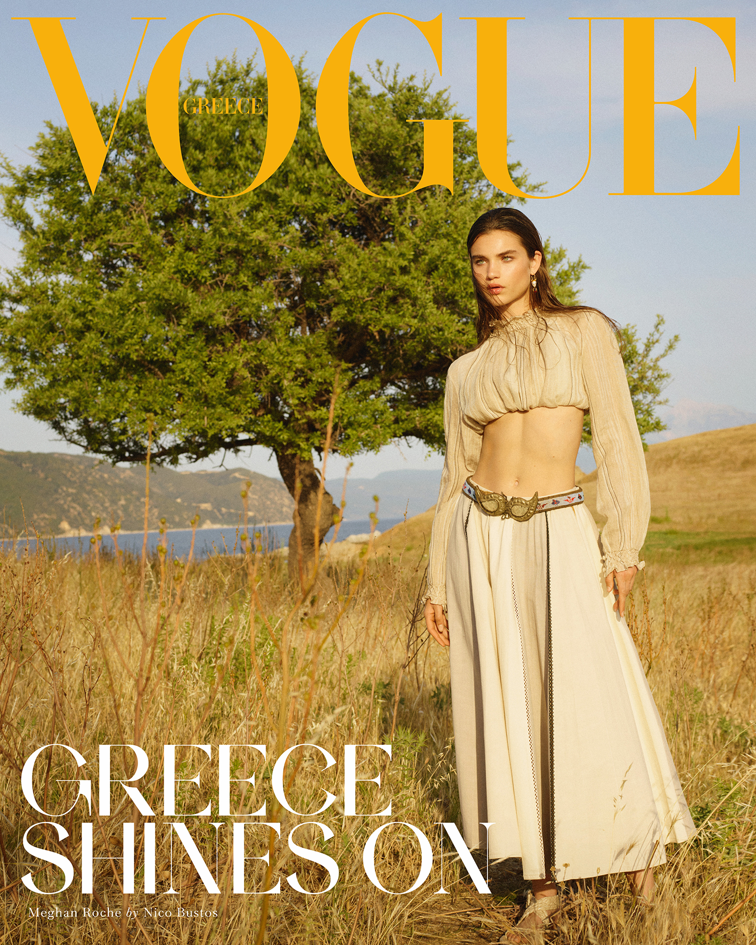 Meghan Roche covers Vogue Greece July August 2021 by Nico Bustos