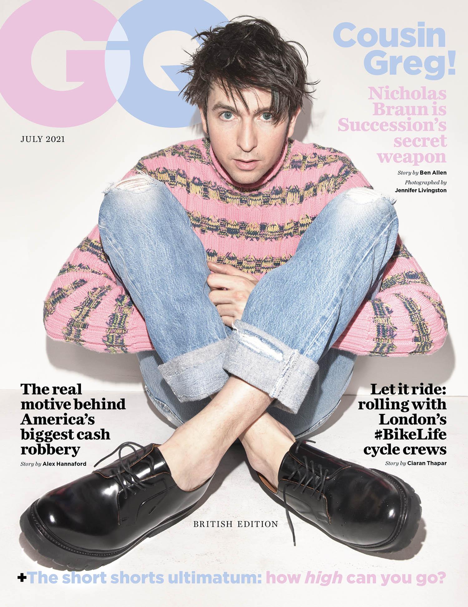 Nicholas Braun covers British GQ July 2021 by Jennifer Livingston