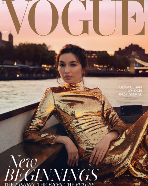 Gemma Chan covers British Vogue September 2021 by Hanna Moon