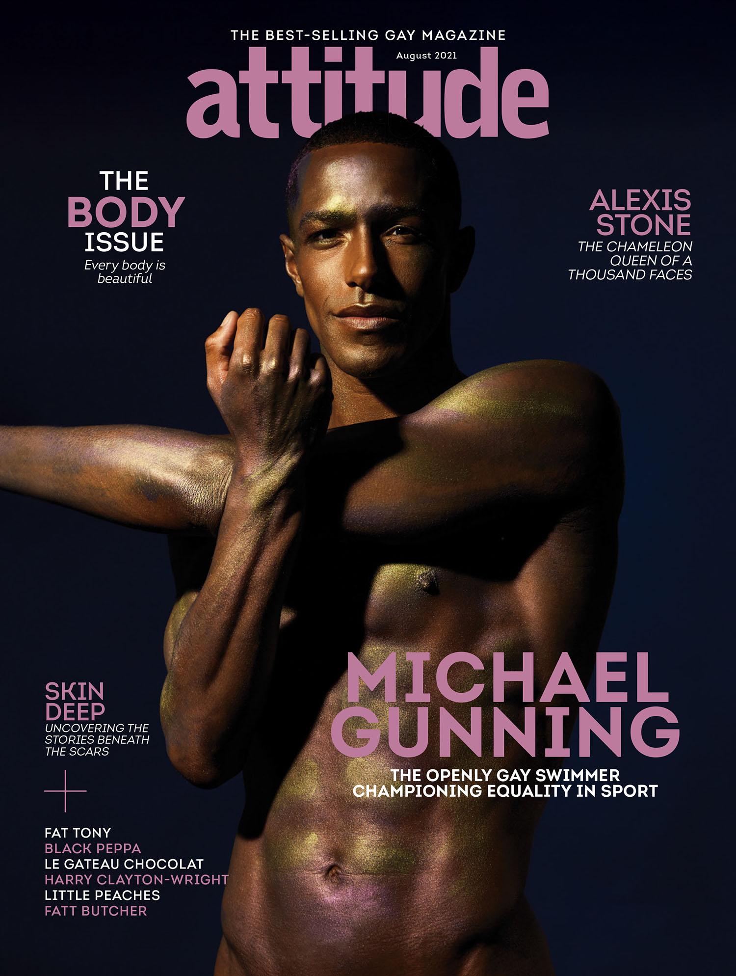 Michael Gunning covers Attitude Magazine August 2021 by Dean Ryan McDaid