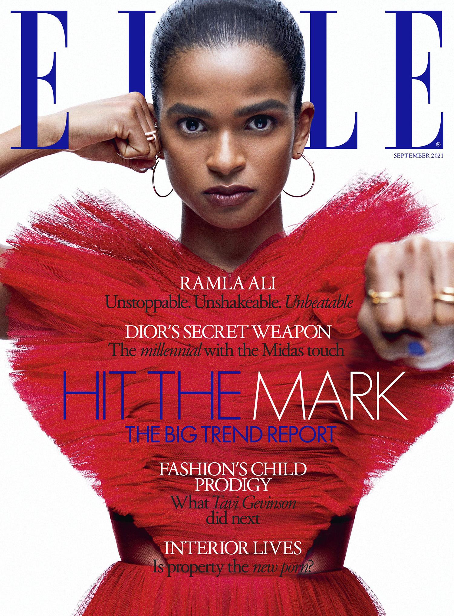 Ramla Ali covers Elle UK September 2021 by Meinke Klein