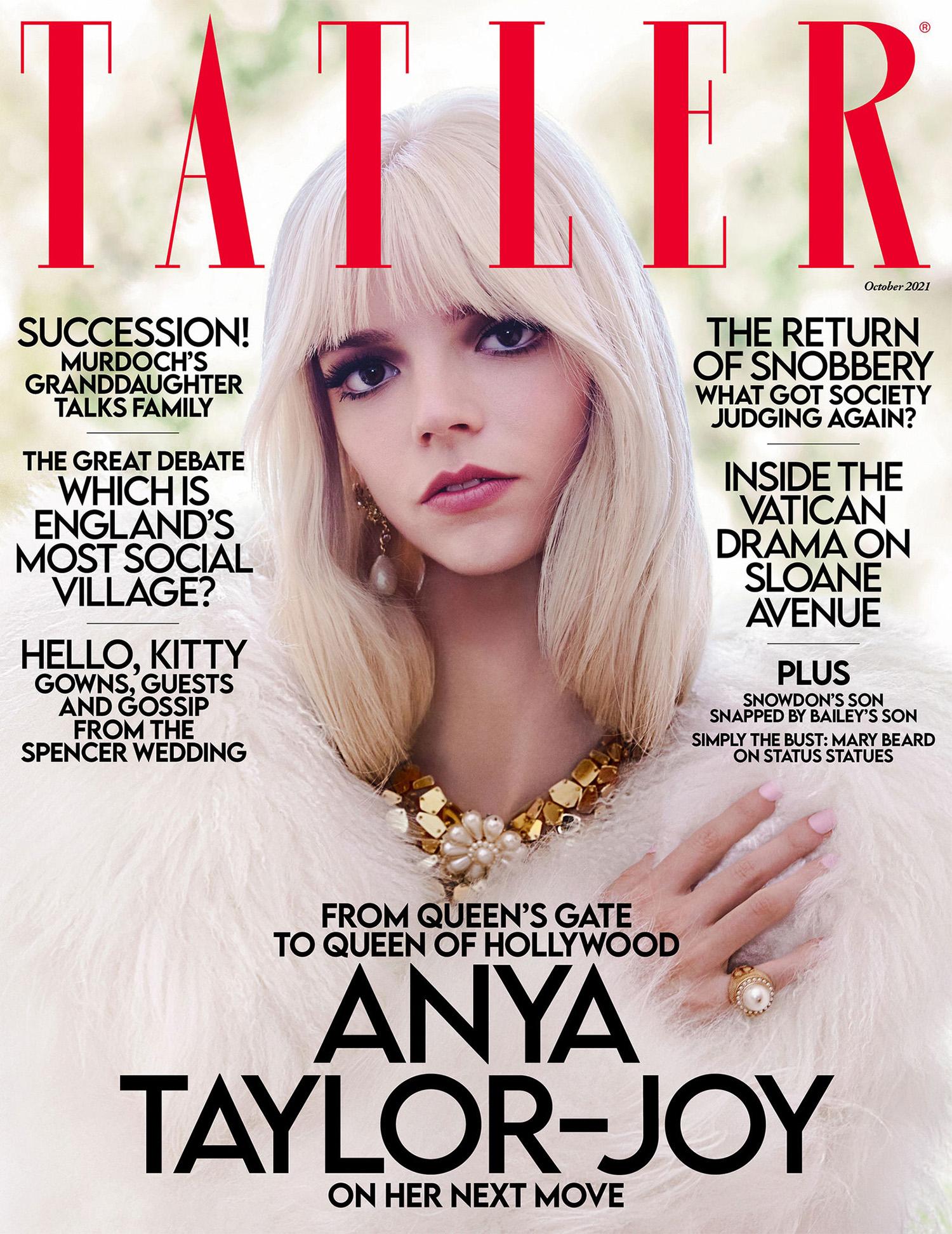 Anya Taylor-Joy covers Tatler UK October 2021 by Jack Waterlot