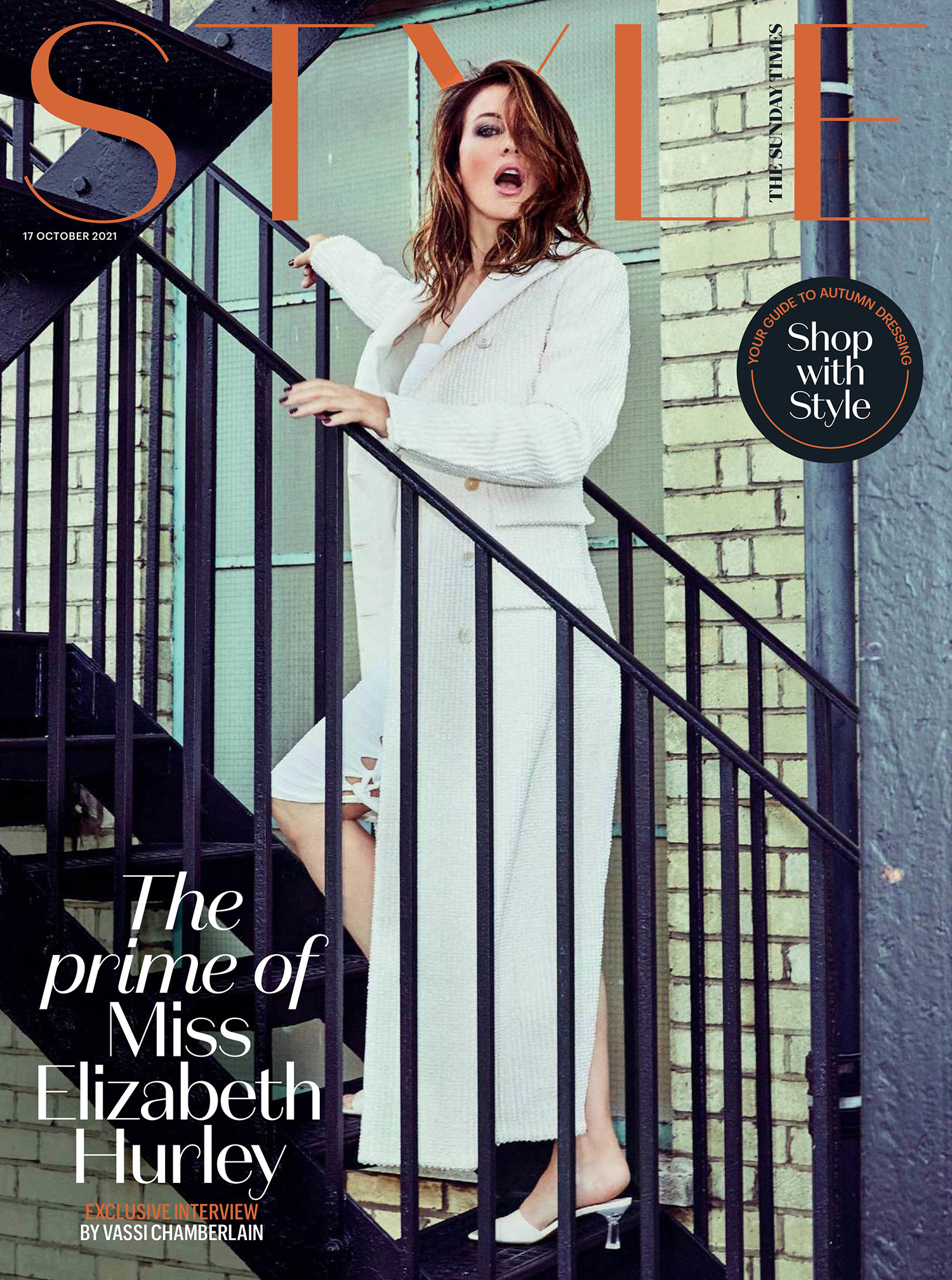 Elizabeth Hurley covers The Sunday Times Style October 17th, 2021 by Ellen von Unwerth