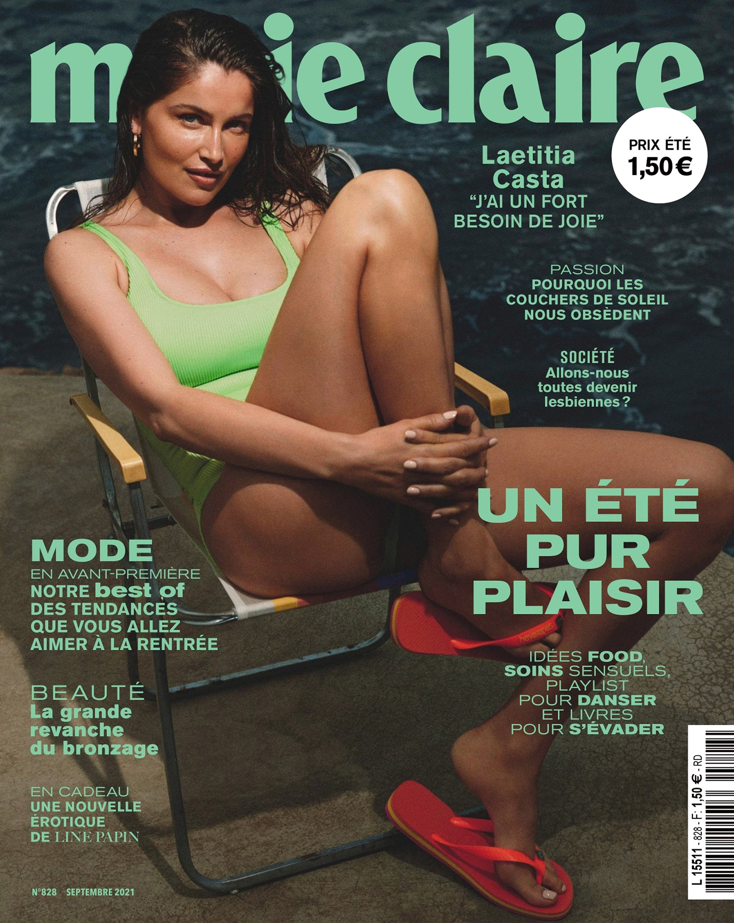 Laetitia Casta covers Marie Claire France September 2021 by Van Mossevelde + N