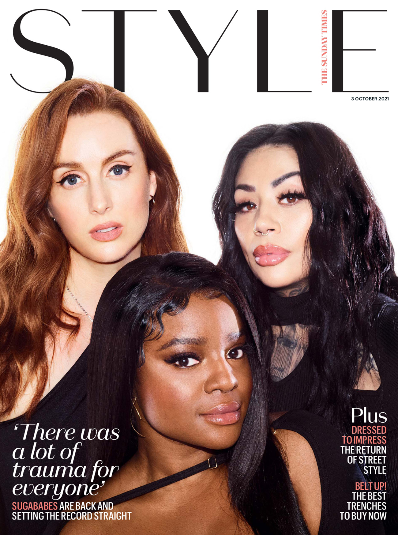 Sugababes cover The Sunday Times Style October 3rd, 2021 by Bella Howard